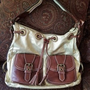 Isabella Fiore Gold and Brown Leather Hobo Bag EUC